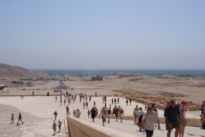 The view from the temple looking towards lush Nile area.