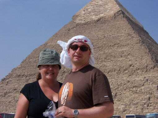 Sam & I at the Pyramid of Khafre, the second larger pyramid.