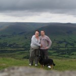 Extreme dog walking. The top of Mam Tor in Derbyshire