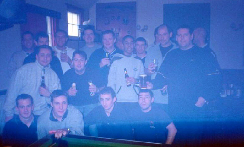 GEF crew in The Globe Tavern after a nights drinking on Mount Kent, Port Stanley, Falklands.
