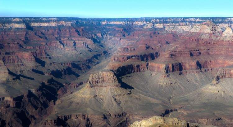 The many varied colours of the Grand Canyon just before sunset.