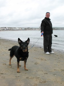 Me and Lucky at Weymouth Beach