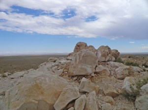 House size boulders on Meteor Crater rim
