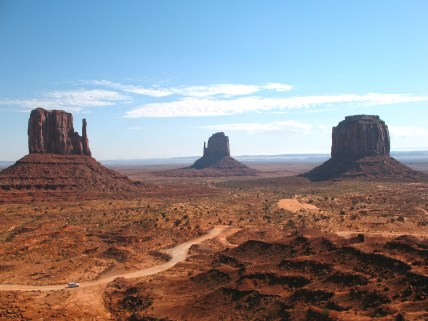 Mittens as seen from Monument Valley visitor centre.