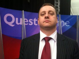 My best Ken Clarke / John Prescott impression. Hurriedly taken as the stage is dismantled straight after the filming has finished. I'd like to say the camera puts 10lbs on your face. Mine is actually down to eating too many pies.