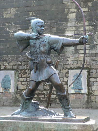 Nottingham's most famous resident, Robin Hood bronze statue outside the wall of Nottingham Castle. Woefully under represented as a tourist attraction.