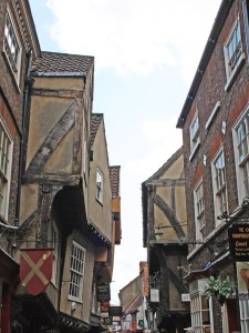 Over hanging timber framed buildings on the old York street The Shambles.