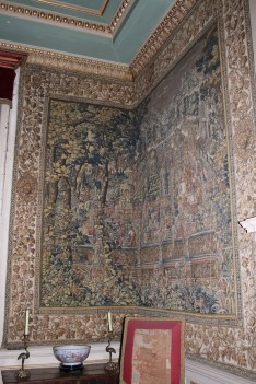 Wall to wall tapestry's in the Queen Anne bedroom