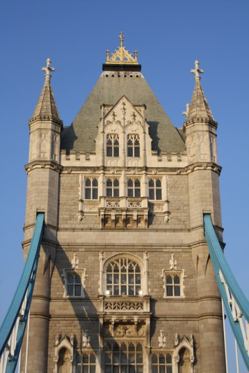 Looking up a Tower Bridge