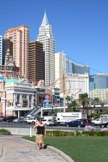 Sam at the corner of Tropicana (Las Vegas Boulevard) towards New York New York.