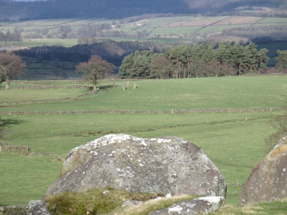 Nine Stones Close stone circle as seen from Robin Hood's Stride