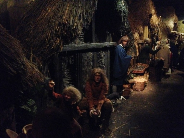 A historical reconstruction of a Jorvik street scene.