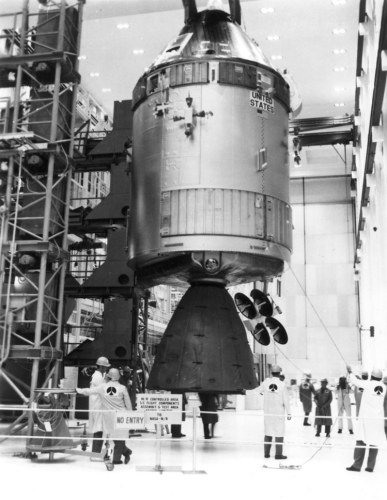 Apollo 13 CSM in Assembly and Test.