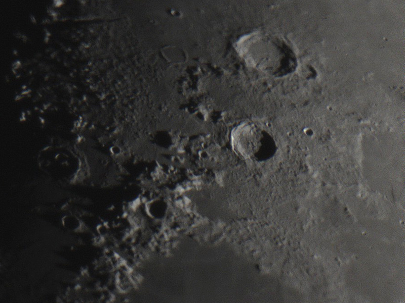 Crater Aristoteles (top), Crater Eudoxus and the north Montes Caucasus mountain range. Image taken with ZWO ASI120MC on 28 December 2014.