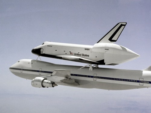 Space Shuttle Enterprise mated to the 747 for the Approach and Landing Tests.