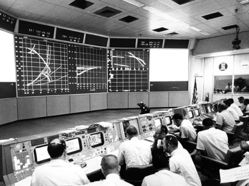 Chuck Deiterich in The Trench at mission Control during the Apollo 11 landing.