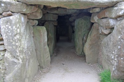 Entrance to the middle aisle and tomb chambers of West Kennet Long Barrow.