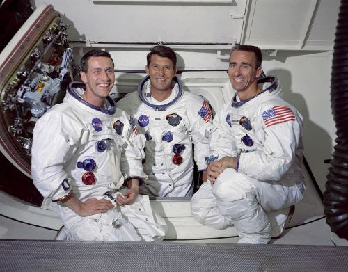 Apollo 7 crew Command Module pilot, Don F. Eisele, Commander, Walter M. Schirra Jr. and Lunar Module pilot, Walter Cunningham.