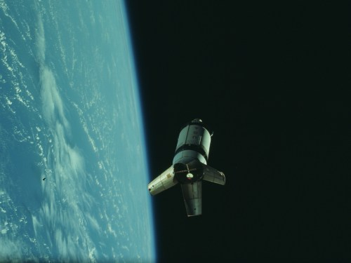Saturn IVB (S4B) stage from Apollo 7. Cropped image of still number AS07-3-1551 from the Project Apollo Archive.
