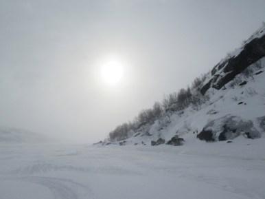 Barents sea edge on the frozen fjord