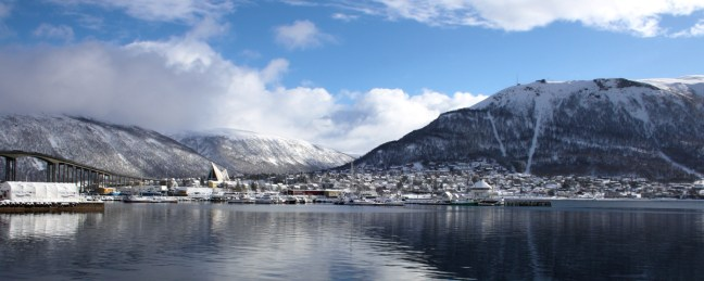 View from Tromso quay towards the Arctic Cathedral