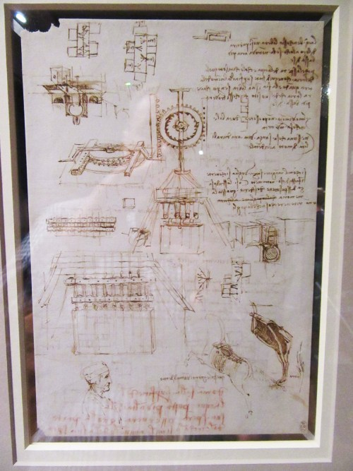 Studies for casting an equestrian monument (recto); Further casting studies, and lines of poetry (verso) c.1492-3