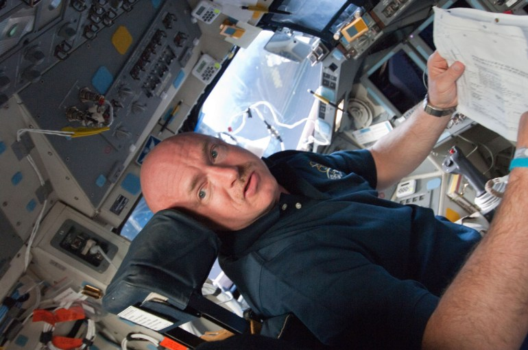 Mark Kelly on space shuttle Endeavour