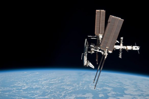 International Space Station and the docked space shuttle Endeavour