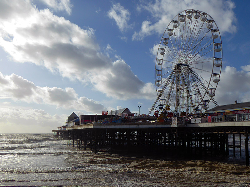 Blackpool's North Pier, the only pier that was open due to the high winds