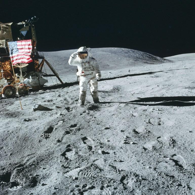 Charlie Duke salute on the lunar surface