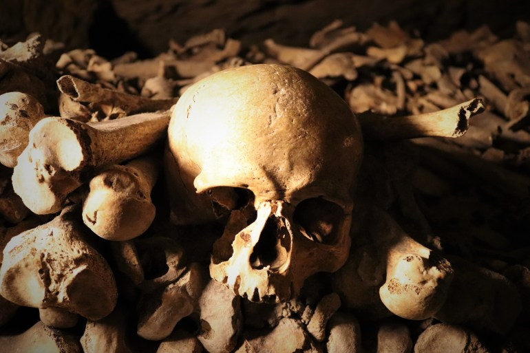 A skull amongst femur bones in the Paris Catacombs