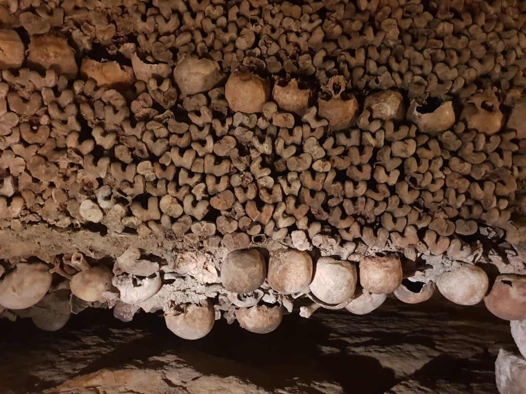 Floor to ceiling bones of the Paris Catacombs