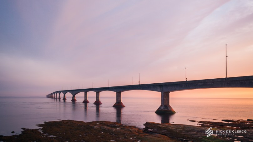Sunset at the Confederation Bridge in Prince Edward Island, Canada