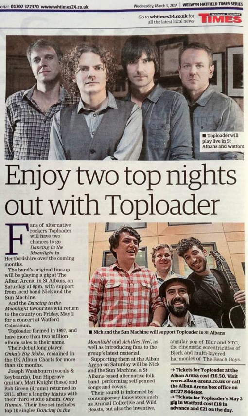 Supporting Toploader newspaper article