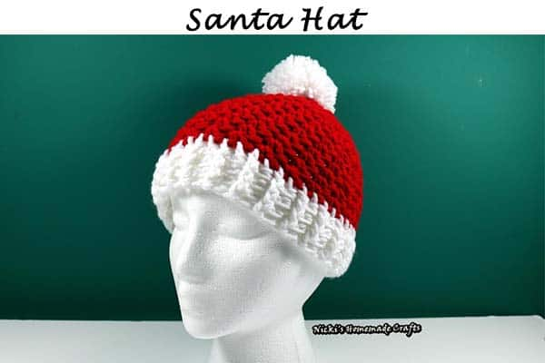 Santa Hat with Pom-pom - Free Crochet Pattern by Nicki's Homemade Crafts
