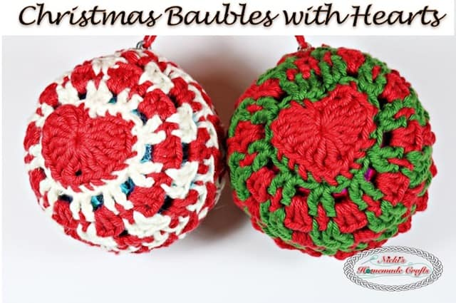 Free Pattern Tutorial: How to crochet a Christmas bauble with hearts