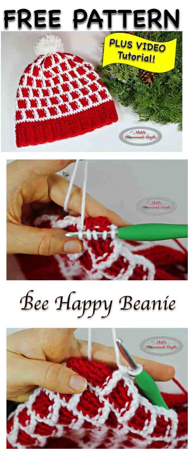 Bee Happy Beanie - Free Crochet Pattern