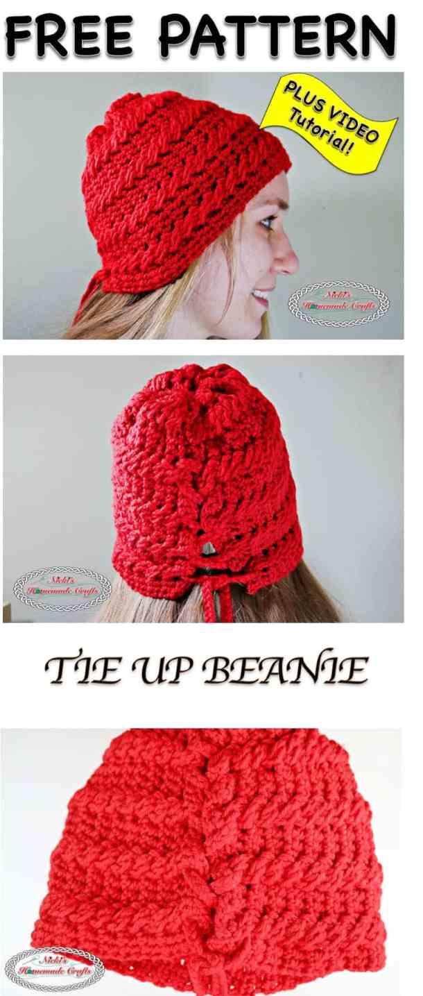 Tie up Beanie - Free Crochet Pattern - Nicki\'s Homemade Crafts