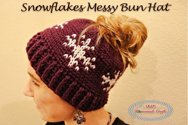 Snowflakes Messy Bun Hat Free Crochet Pattern Nickis Homemade