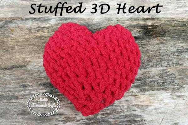 Stuffed 3D Heart - Free Crochet Pattern by Nicki's Homemade Crafts