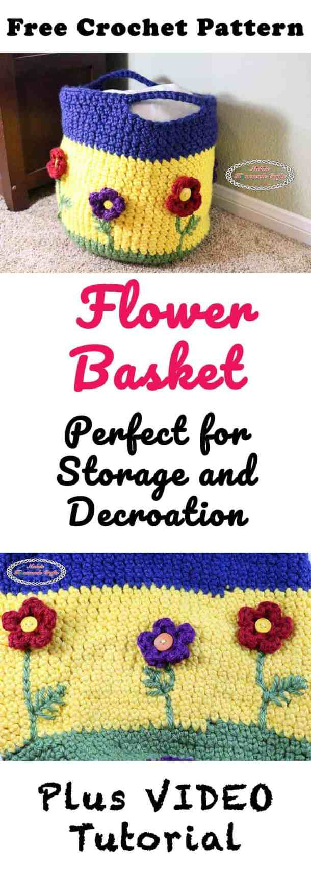 Flower Basket Free Crochet Pattern by Nicki's Homemade Crafts #crochet #flower #basket #spring #button