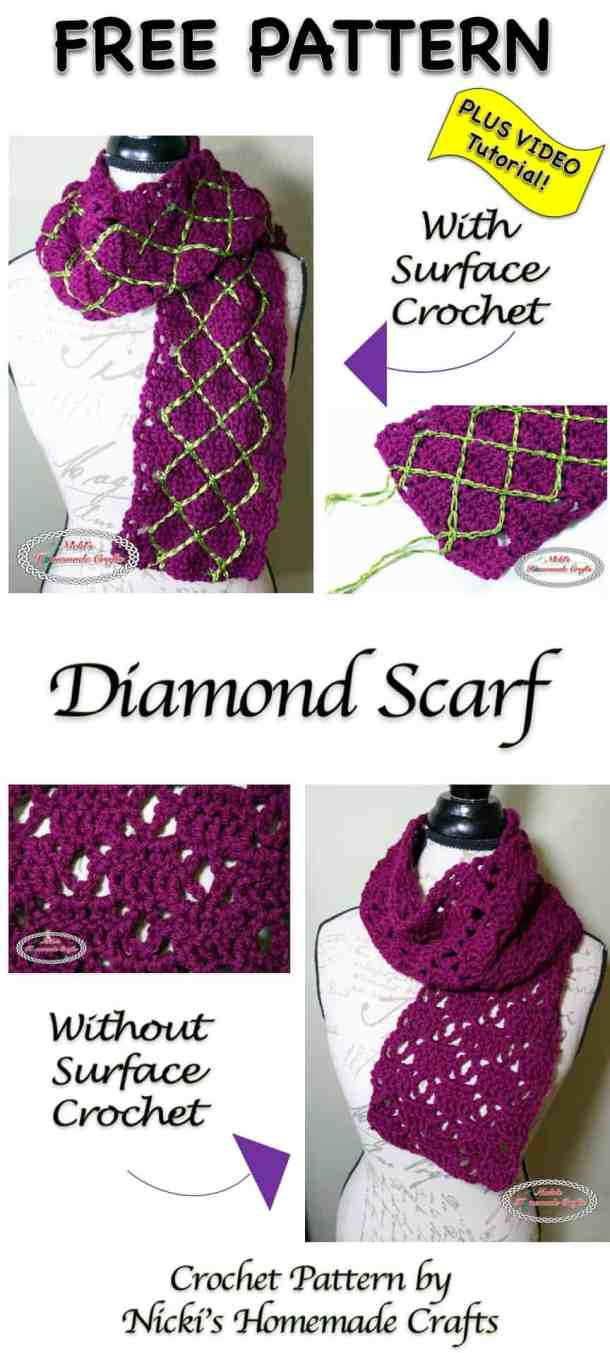 Diamond Scarf - Free Crochet Pattern by Nicki's Homemade Crafts