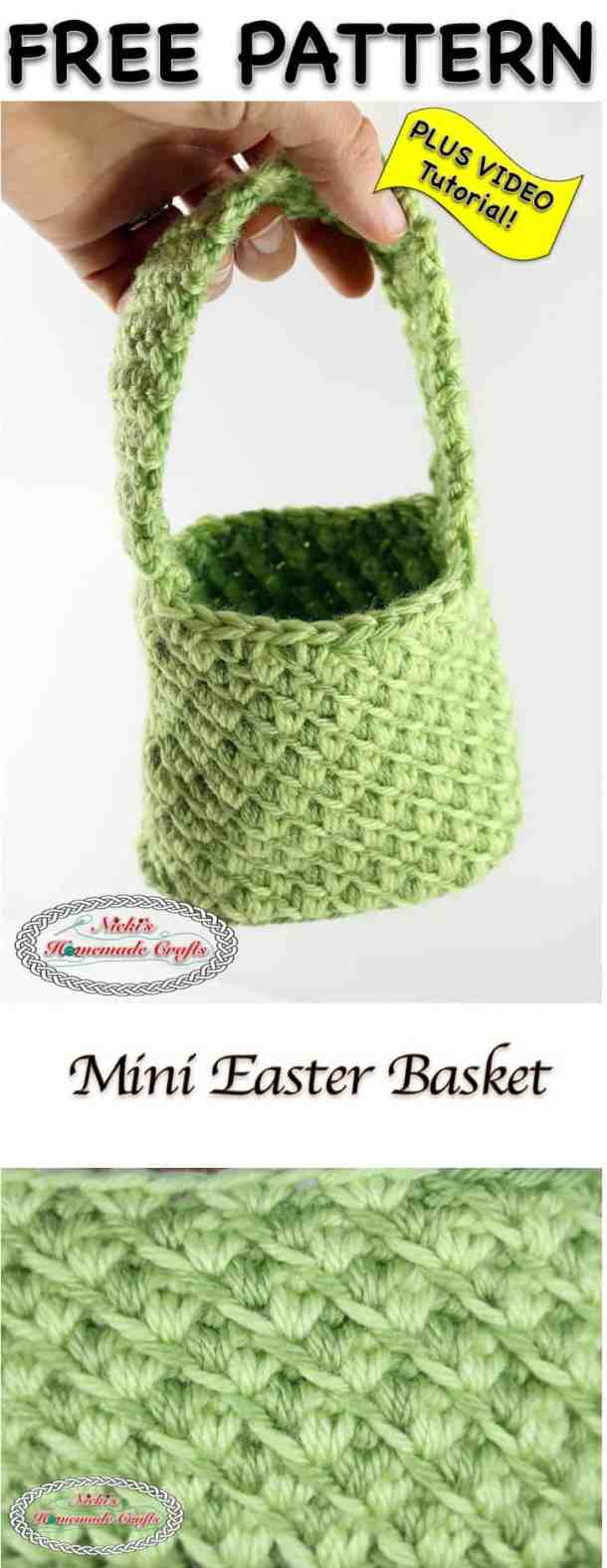 Mini Easter Basket - Free Crochet Pattern by Nicki's Homemade Crafts