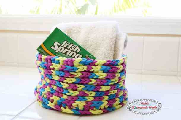 One Skein T-Shirt Yarn Basket used for Bathroom Storage