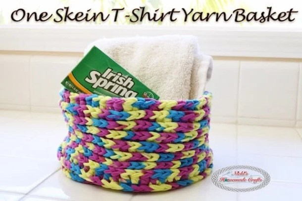 One Skein T-Shirt Yarn Basket - Free Crochet Pattern by Nicki's Homemade Crafts