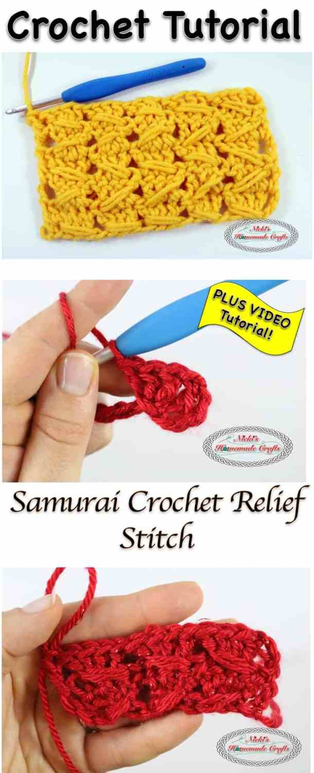 Samurai Crochet relief Stitch - Crochet Stitch Tutorial