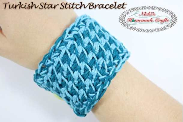 Turkish Star Stitch Bracelet - Free Crochet Pattern and Tutorial by Nicki's Homemade Crafts