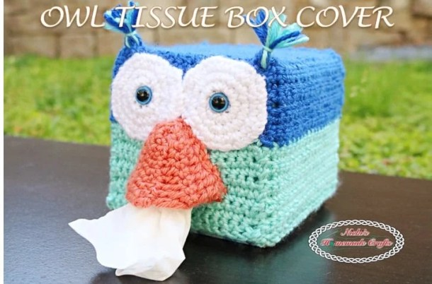 Owl Tissue Box Cover - Free Crochet pattern by Nicki's Homemade Crafts