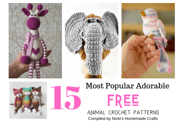 Crocheted Piggy Bank, Dinosaurs, Giraffe, Elephant and Owl as part of 15 Super Adorable Free 15 pattern crochet Animals Collection by Nicki's Homemade Crafts