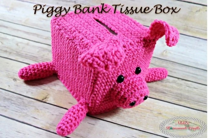 Piggy Bank Tissue Box – Free Crochet Pattern